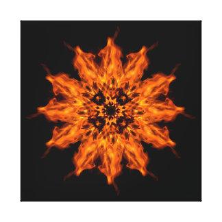 Fire Flower Mandala Fire Art Canvas Print