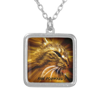 Fire Forward Cat Motivation Silver Plated Necklace