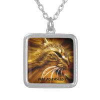 Fire Forward Cat Motivation Square Pendant Necklace