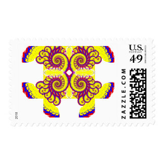 Fire Fractal Postage Stamp