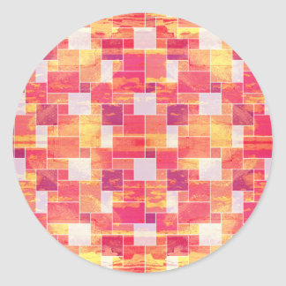 Fire French Tile Classic Round Sticker