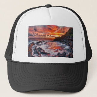 """Fire From the Sea"" Kauai Sunrise Photo Trucker Hat"