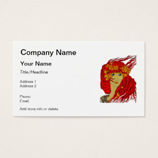 Fire Goddess with Flowing Lava Hair and Flowers Business Card