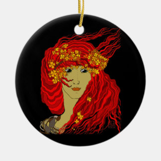 Fire Goddess with Flowing Lava Hair and Flowers Christmas Ornament
