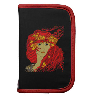 Fire Goddess with Flowing Lava Hair and Flowers Organizers