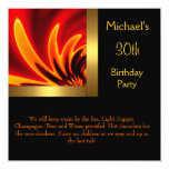 Fire Gold Black 30th Birthday Party Card