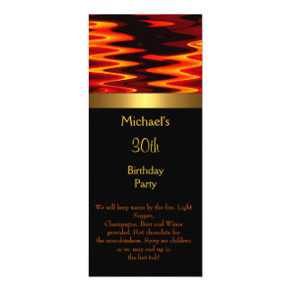 Fire Gold Black 30th Birthday Party Long 2 10 Cm X 24 Cm Invitation Card