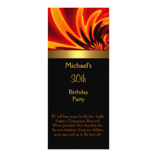 Fire Gold Black 30th Birthday Party Long 4x9.25 Paper Invitation Card