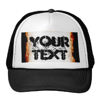 Fire Grunge Empty Blank Frame Border Hat