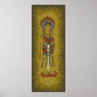 Fire Halo Buddha Maple Leaf Background Art Print