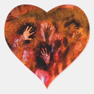 Fire Hands Heart Sticker