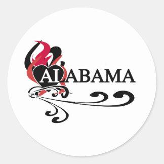 Fire Heart Alabama Classic Round Sticker