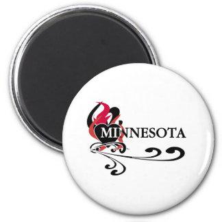 Fire Heart Minnesota 2 Inch Round Magnet
