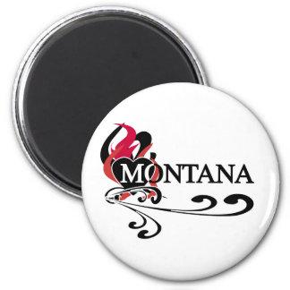 Fire Heart Montana 2 Inch Round Magnet