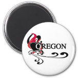 Fire Heart Oregon 2 Inch Round Magnet