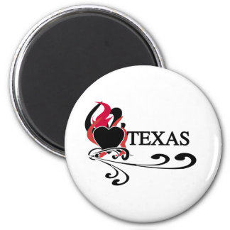 Fire Heart Texas 2 Inch Round Magnet