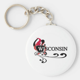 Fire Heart Wisconsin Keychain