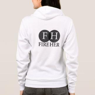 Fire Her White Flex Fleece Zip Hoodie