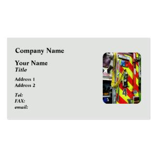 Fire Hose on Striped Fire Engine Business Card