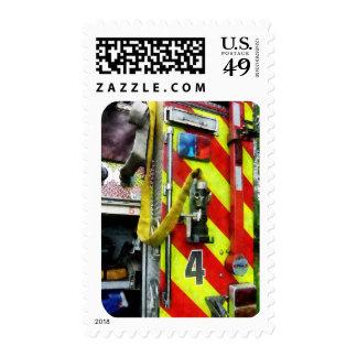 Fire Hose on Striped Fire Engine Postage