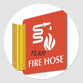 Fire-Hose-Sign-SE-1999, TEAM Classic Round Sticker