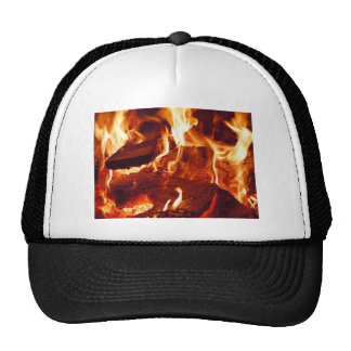FIRE HOT EMBERS FLAMES RED ORANGE BLACK PHOTOGRAPH TRUCKER HAT