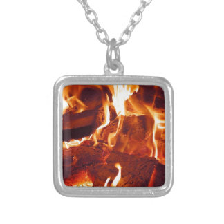FIRE HOT EMBERS FLAMES RED ORANGE BLACK PHOTOGRAPH SQUARE PENDANT NECKLACE