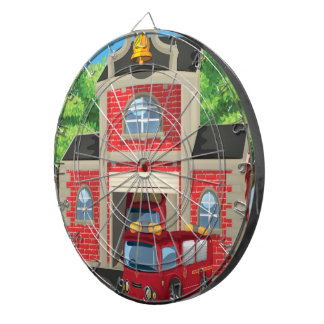 Fire House and Fire Truck Dart Board