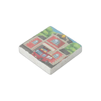 Fire House and Fire Truck Stone Magnet