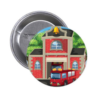 Fire House and Fire Truck Pinback Button