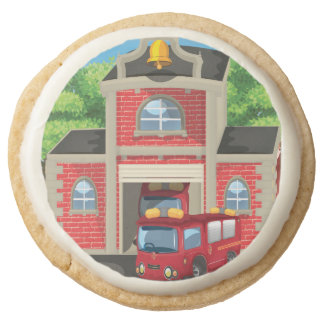 Fire House and Fire Truck Round Shortbread Cookie