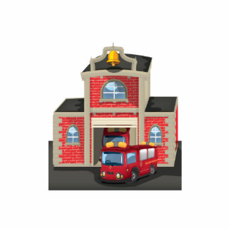 Fire House and Fire Truck Statuette