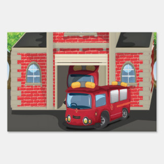 Fire House and Fire Truck Yard Sign