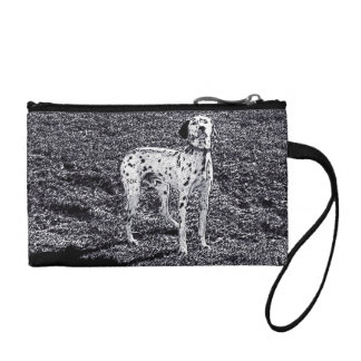 Fire House Dalmatian Dog in Black and White Ink Coin Purses