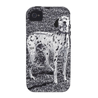 Fire House Dalmatian Dog in Black and White Ink iPhone 4 Case