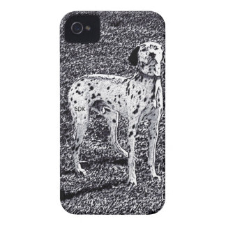 Fire House Dalmatian Dog in Black and White Ink iPhone 4 Case-Mate Cases