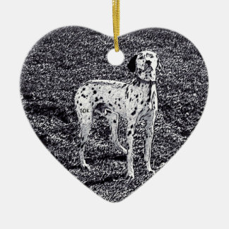 Fire House Dalmatian Dog in Black and White Ink Ceramic Ornament