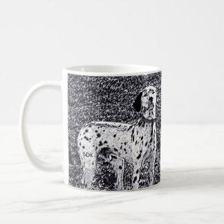 Fire House Dalmatian Dog in Black and White Ink Coffee Mug