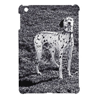 Fire House Dalmatian Dog in Black and White Ink iPad Mini Cover
