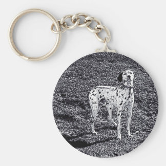 Fire House Dalmatian Dog in Black and White Ink Keychain