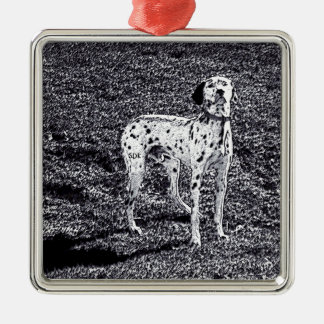 Fire House Dalmatian Dog in Black and White Ink Metal Ornament