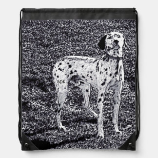 Fire House Dalmatian Dog in Black and White Ink Cinch Bags
