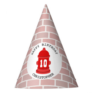 Fire Hydrant + Bricks Birthday Party Hat