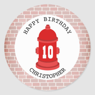 Fire Hydrant + Bricks Birthday Party Sticker