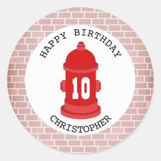 Fire Hydrant + Bricks Birthday Party Sticker
