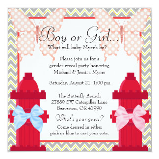 Fire Hydrant & Butterfly Chevron Gender Reveal Card