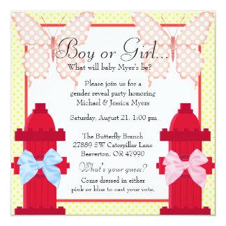 Fire Hydrant & Butterfly Polka Dot Gender Reveal Card