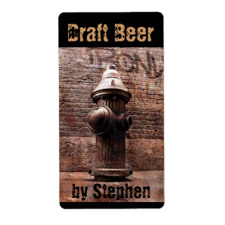 Fire hydrant draft beer bottle label shipping label