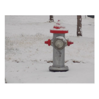 fire hydrant in snow postcard