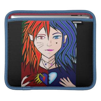 fire ice girl anime manga fantasy cartoon sleeves for iPads